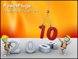 PowerPoint Template - 3D render of men bringing the new year in