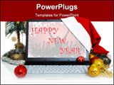 PowerPoint Template - laptop with a christmas balls and santa hat on the corner