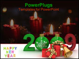 PowerPoint Template - New year 2009. 3D image.