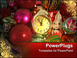 PowerPoint Template - Clock and ornaments for a Christmas tree
