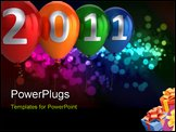 PowerPoint Template - our colorful (red, orange, green, blue) helium balloons with numbers 2011. 3D render. Isolated on b