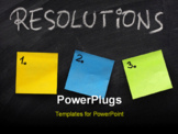 PowerPoint Template - list of resolutions on blackboard with three blank numbered sticky notes