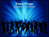 PowerPoint Template - Silhouettes of lots of people dancing .