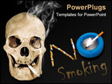 PowerPoint Template - Human skull with cigarette isolated on a black background.