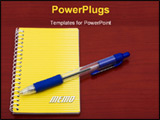 PowerPoint Template - Bright yellow notepad and pen on table