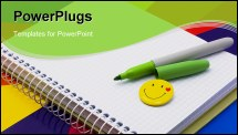 PowerPoint Template - notebook, felt-tip pen of green badge-smile on color paper