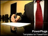 PowerPoint Template - Business man writes notes on paper in conference room.