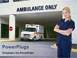 PowerPoint Template - nurse standing in front of ambulance entrance