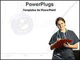 PowerPoint Template - nurse checking medical report sheet