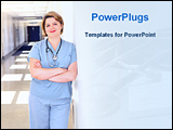PowerPoint Template - a nurse standing in a hospital corridor