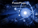 PowerPoint Template - Blue 3D atoms on blue backgrounds