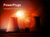 PowerPoint Template - nuclear power station with cooling towers steam