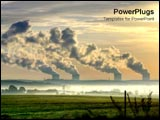 PowerPoint Template - Nuclear power stations in the distance under the sunset.