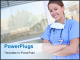 PowerPoint Template - Attractive and young woman nurse outside hospital building