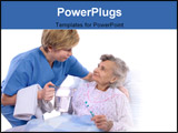 PowerPoint Template - Nurse helps the senior woman in washing