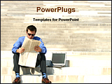 PowerPoint Template - a business man reading newspaper