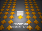 PowerPoint Template - d rendered image representing a group of arrows. One is stopped by an obstacle. Business or career