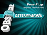 PowerPoint Template - The word Dedication on an arrow jumping over an Obstacle