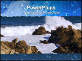 PowerPoint Template - Pacific Grove - Monterey California Coastline with Waves Crashing Against Rocks