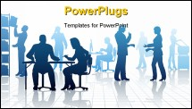 PowerPoint Template - Editable vector silhouettes of people in a busy office with reflections