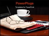 PowerPoint Template - Desk with laptop ring binder newspaper glasses and a cup of coffee