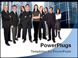 PowerPoint Template - Business team work in a business environment - business buildings