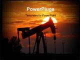 PowerPoint Template - An oil pump jack is silhouetted by setting sun.