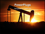 PowerPoint Template - oil pump silhouette against a bright orange sky