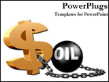 PowerPoint Template - Money symbol chained to an oil weight.