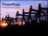 PowerPoint Template - oil pumps on the sunset sky background