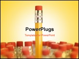 PowerPoint Template - Group of eraser ends of pencils with one standing out higher than the rest.