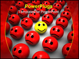 PowerPoint Template - 3d illustration of one happy face with evil red faces around