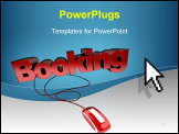 PowerPoint Template - Red and white 3D illustration of the word booking connected to a computer mouse