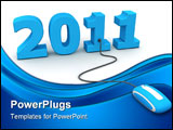PowerPoint Template - Modern blue computer mouse connected to the blue date 2011 - welcome the new year