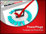 PowerPoint Template - A web browser window shows the words Online Survey and a check mark in box