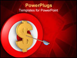 PowerPoint Template - Dollar symbol on target with arrow through it