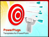 PowerPoint Template - A figure hangs from an arrow shot into a target