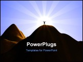 PowerPoint Template - A silhouette of a man standing on top of a high mountain.