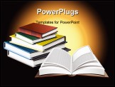 PowerPoint Template - pened book in front of pile of many colored books. Education/knowledge concept. Rising sun for back