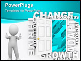 PowerPoint Template - An open door to blue arrows rising up surrounded by words like Change Adapt and Growth