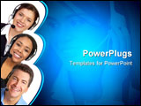 PowerPoint Template - Smiling business people with headsets. Over white background