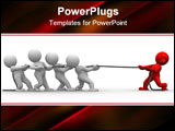 PowerPoint Template - many 3d humans pull a rope to opposite directions