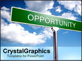 PowerPoint Template - Sign of opportunity over blue skies.