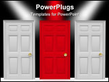 PowerPoint Template - Three doors stand before you... do you pick the red one in the middle?