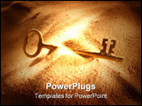 PowerPoint Template - A key lying half buried in the sand