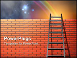 PowerPoint Template - Ladder leans on wall with sky and rainbow