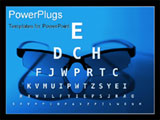 PowerPoint Template - Glasses and eye test chart - blue version
