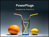 PowerPoint Template - Lemon with orange and glass of water with yellow straws close-up.