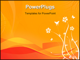 PowerPoint Template - Floral design on a orange wave background