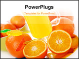 PowerPoint Template - orange juice in glass and orange fruits around the glass